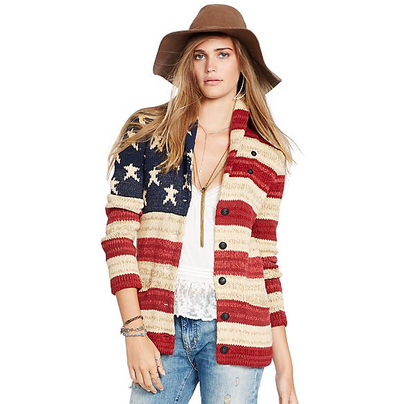 Ralph Lauren American Flag Shawl Sweater 93
